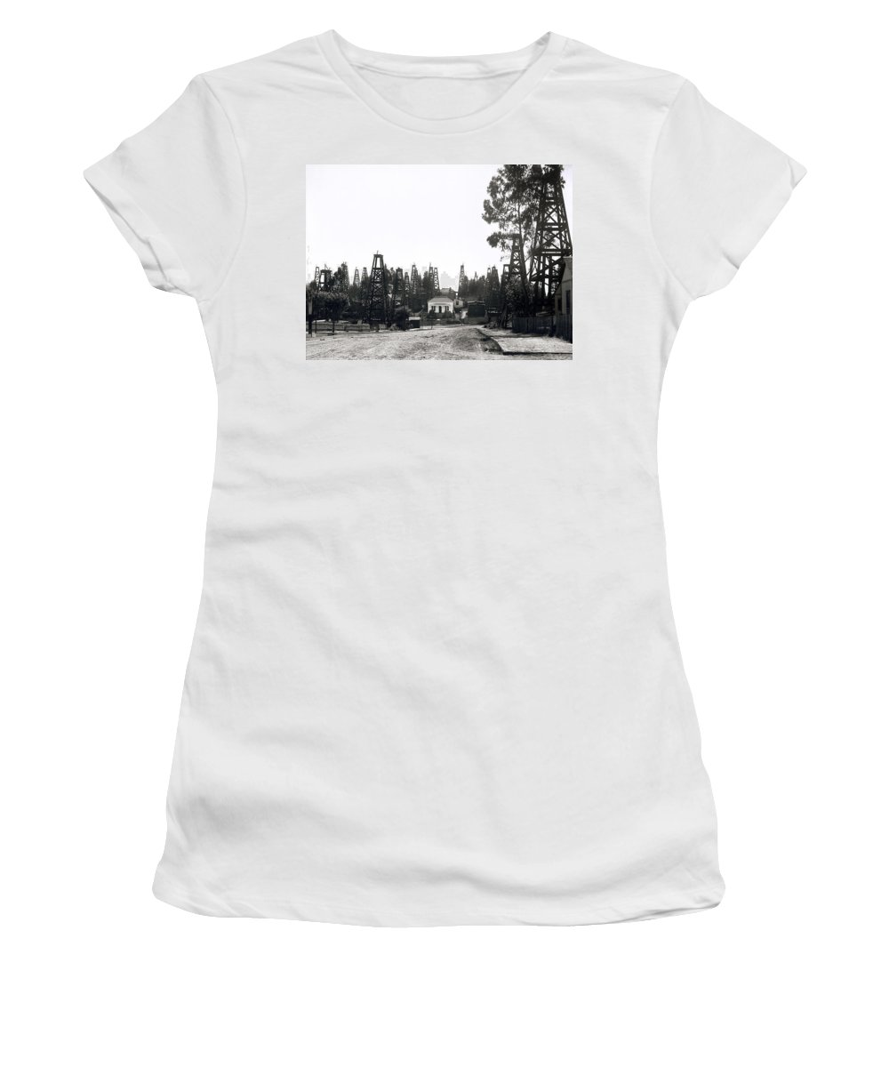 oil Field Women's T-Shirt (Athletic Fit) featuring the photograph Oil Field Residential Los Angeles C. 1901 by Daniel Hagerman
