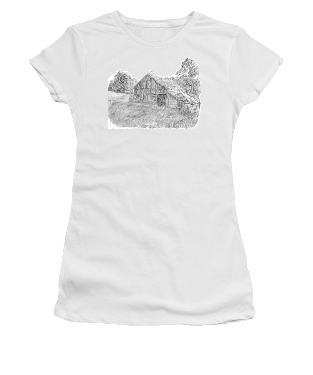 Old Barn Women's T-Shirt (Athletic Fit) featuring the drawing Old Barn 3 by Barry Jones