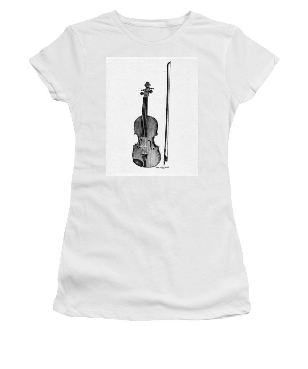 Fiddle Women's T-Shirt (Athletic Fit) featuring the painting Old Fiddle by Robin Martin Parrish