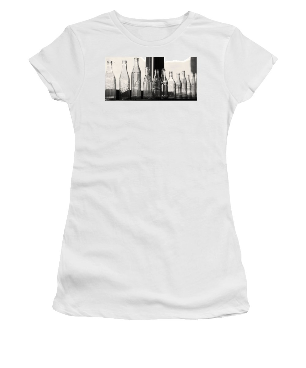 Bottles Women's T-Shirt featuring the photograph Old Glass Bottles by Emily Smith