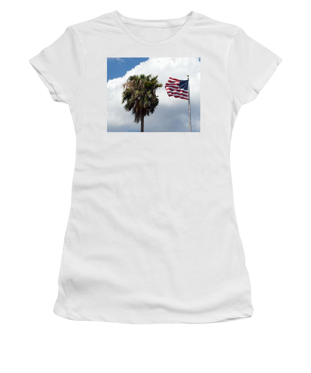Florida; Titusville; Space; Coast; Astronauts; Astronaut; Cape; Canaveral; Mercury; Project; Freedom Women's T-Shirt featuring the photograph Old Glory Monument At Titusville Florida by Allan Hughes