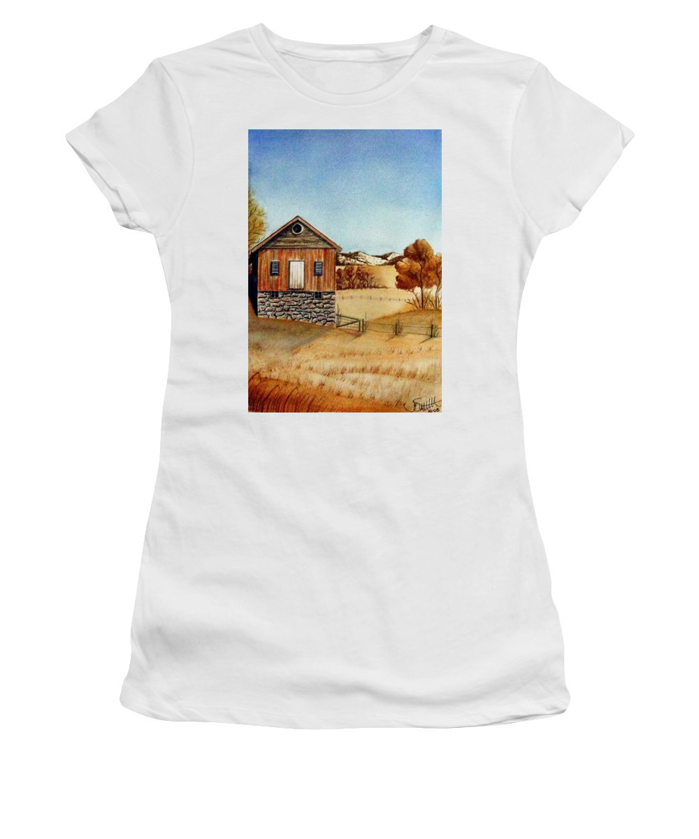 Building Women's T-Shirt (Athletic Fit) featuring the painting Old Homestead by Jimmy Smith
