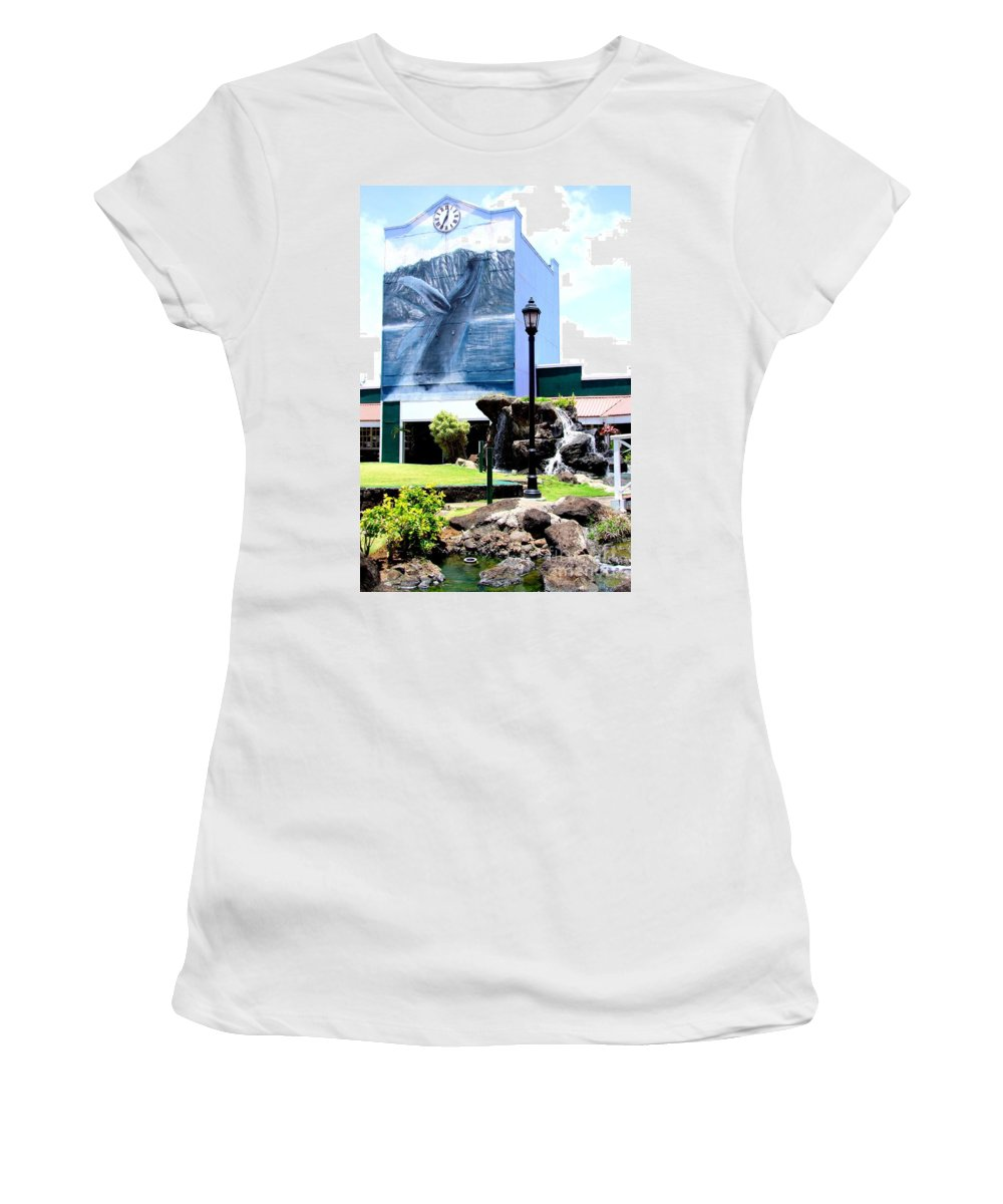 Clock Tower Women's T-Shirt (Athletic Fit) featuring the photograph Old Kauai Village Clock Tower by Mary Deal