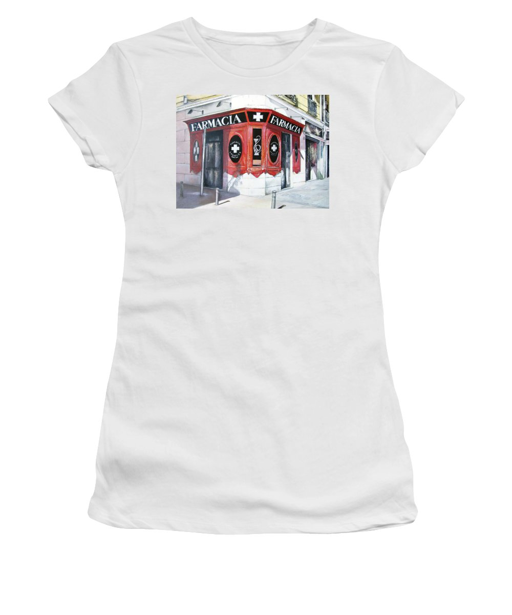 Pharmacy Women's T-Shirt featuring the painting Old Pharmacy by Tomas Castano
