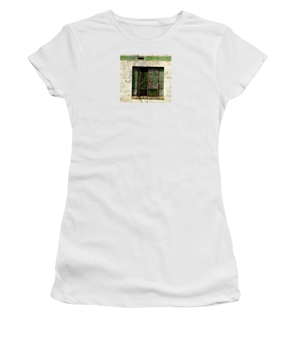 Window Women's T-Shirt featuring the photograph Old Storage Shed Window by Amy Spear