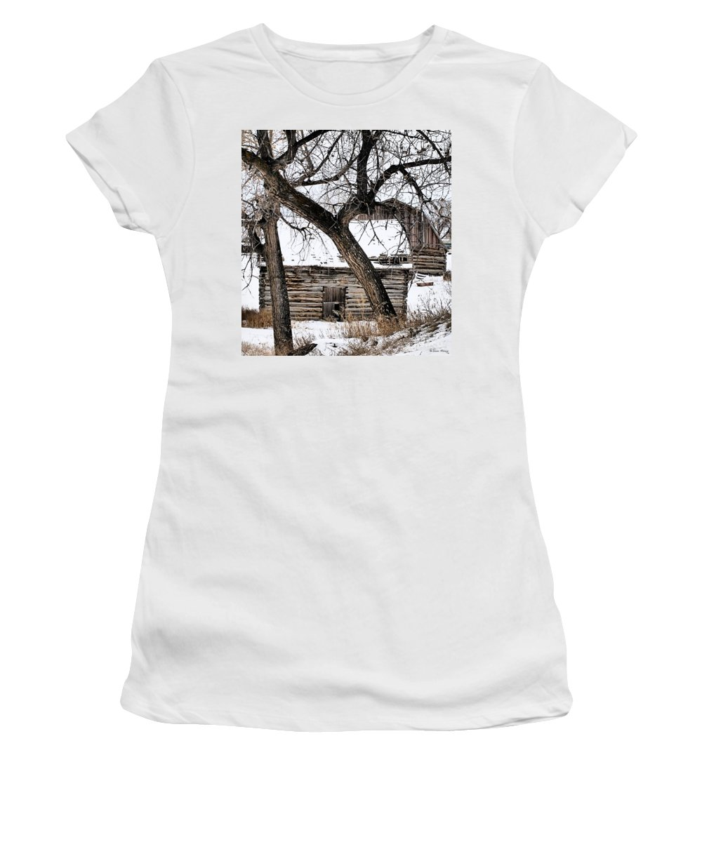 Old Barn Women's T-Shirt (Athletic Fit) featuring the photograph Old Ulm Barn by Susan Kinney