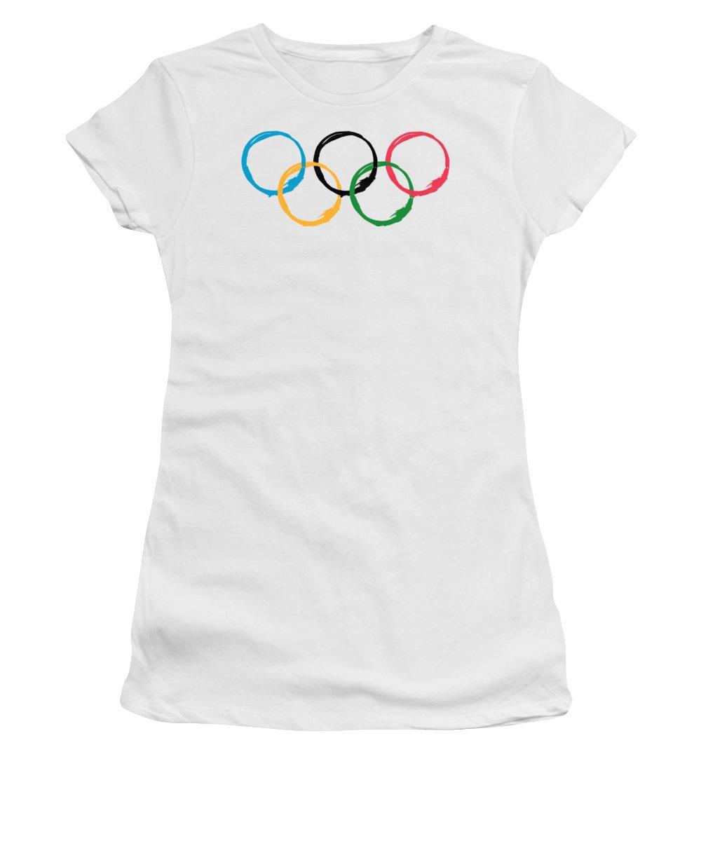 Olympics Women's T-Shirt featuring the digital art Olympic Ensos by Julie Niemela
