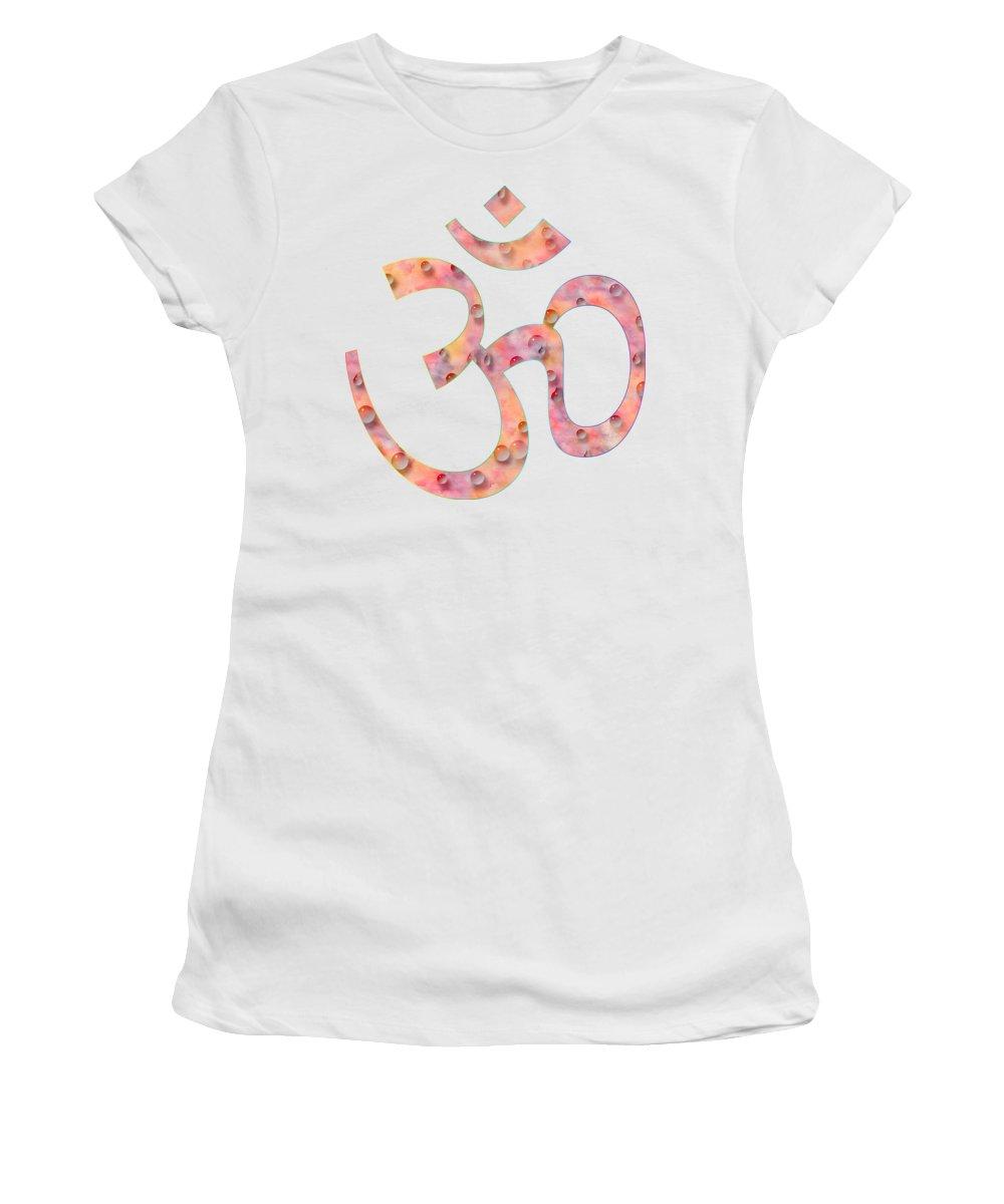 Om Symbol Women's T-Shirt featuring the painting Om Symbol Digital Painting by Georgeta Blanaru