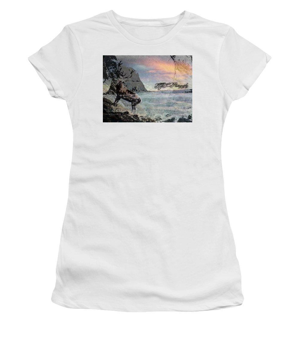 #abstract #lifestyleart #wildlife #grunge #ontherocks #buck_art Women's T-Shirt (Athletic Fit) featuring the mixed media On The Rocks. by Tina S