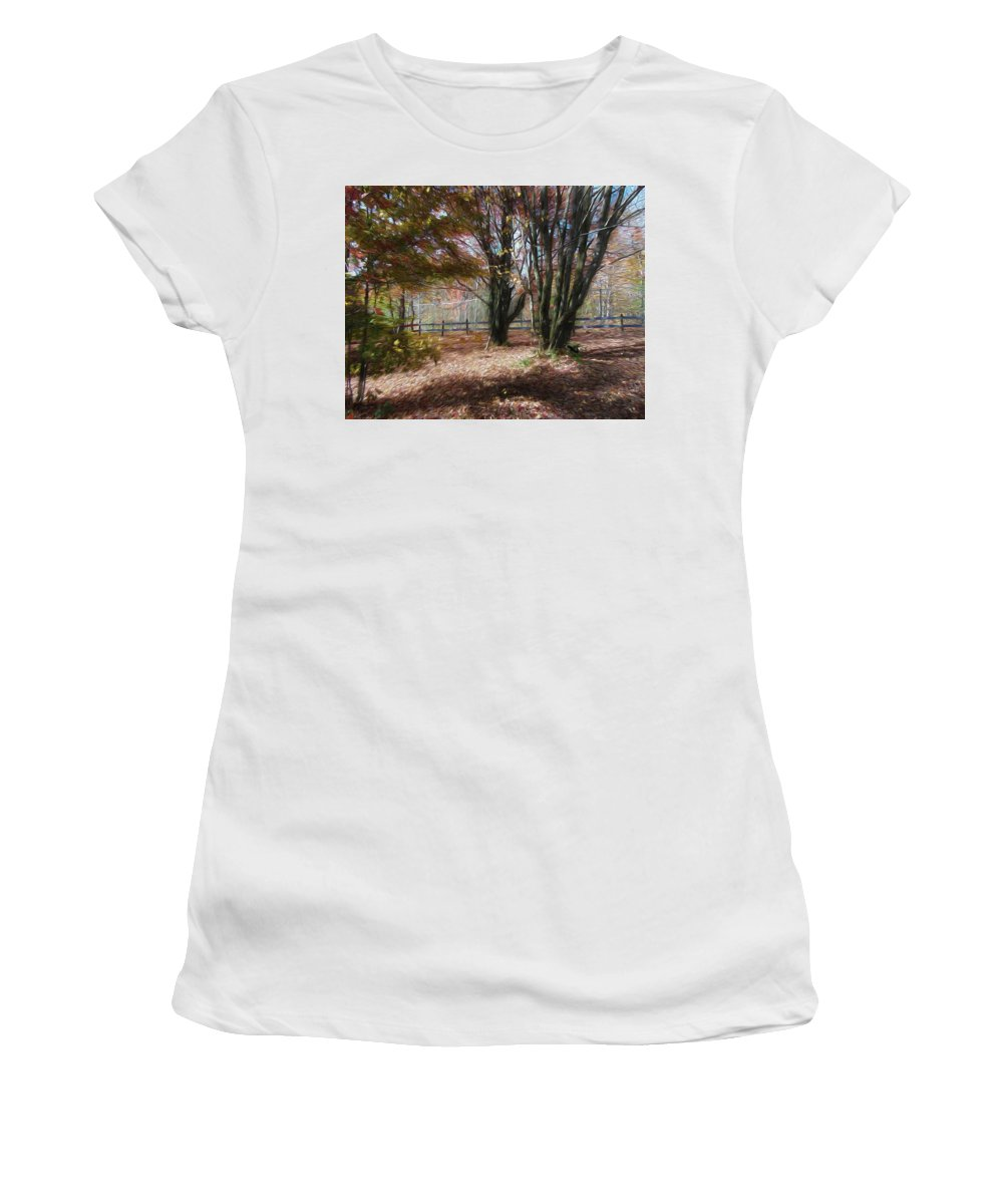 Wolf Women's T-Shirt featuring the digital art On Wolf Mountain by Leah Mealing