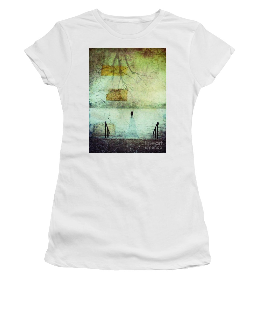 Man Women's T-Shirt (Athletic Fit) featuring the photograph One Man In The Winter Of His Life by Tara Turner