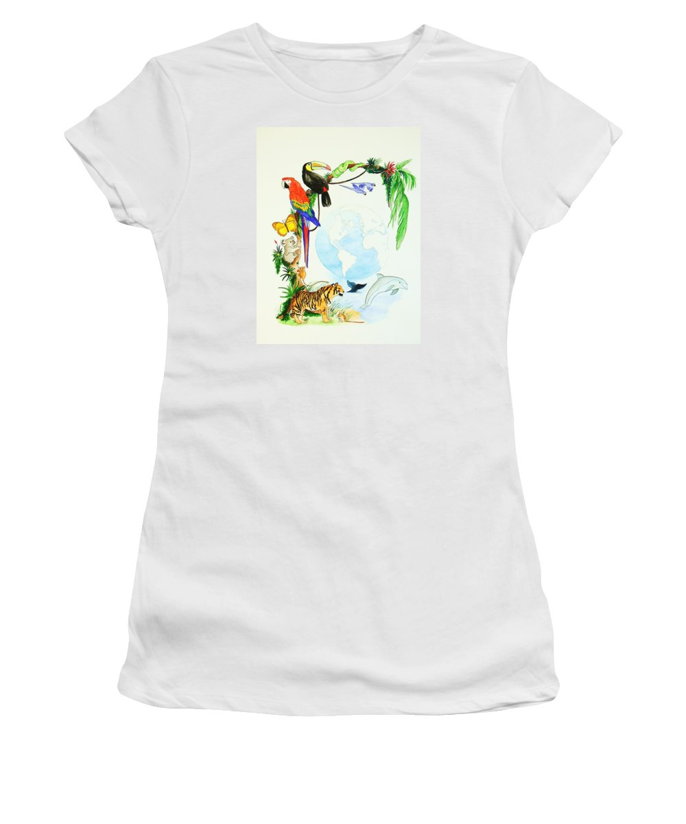 Animals Women's T-Shirt (Athletic Fit) featuring the painting One World by Michaela Bautz