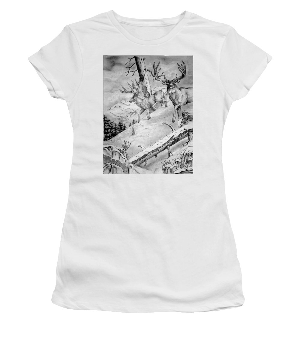 Arizona Women's T-Shirt (Athletic Fit) featuring the painting Ones That Got Away by Jimmy Smith