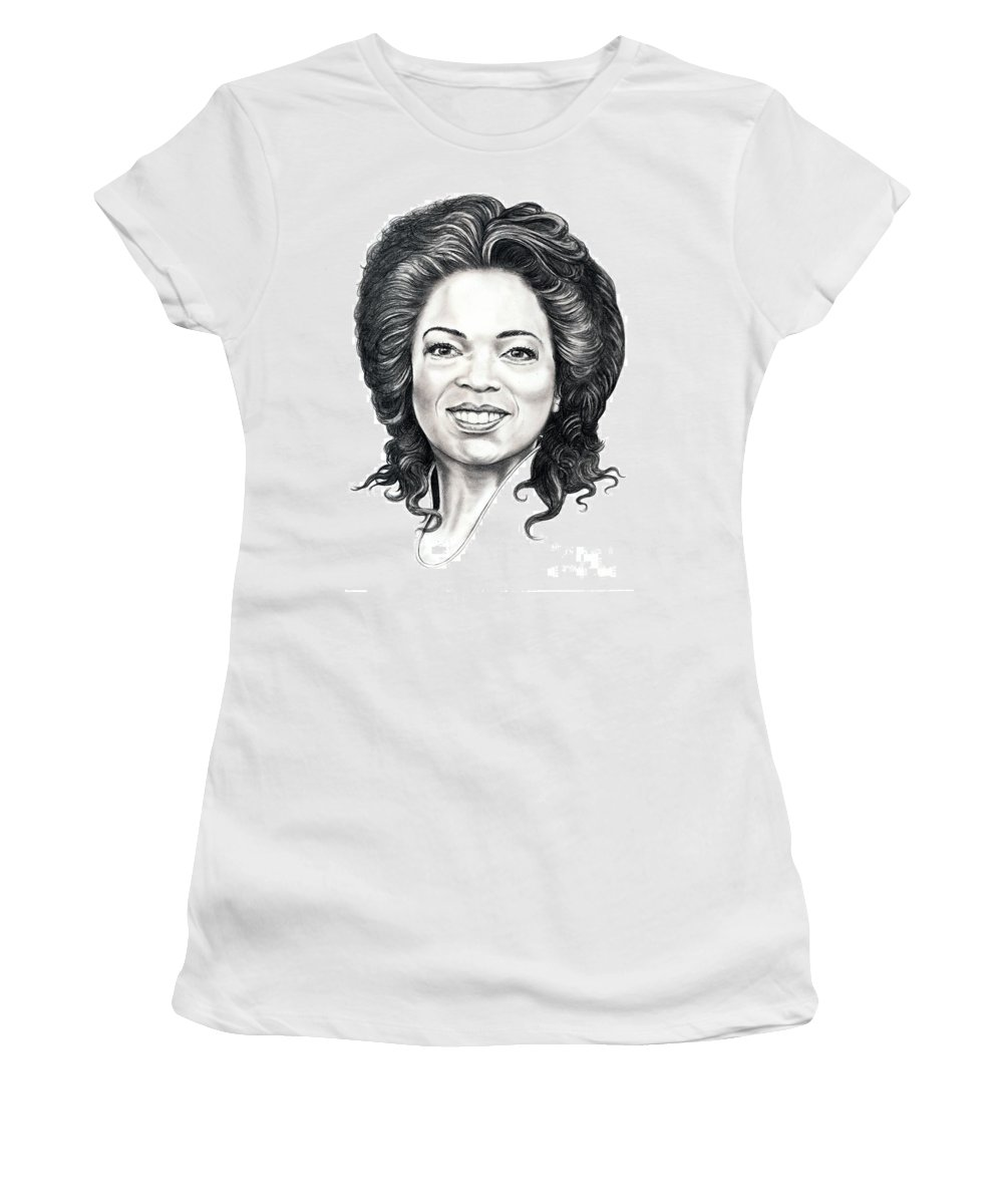 Oprah Women's T-Shirt (Athletic Fit) featuring the drawing Oprah Winfrey by Murphy Elliott
