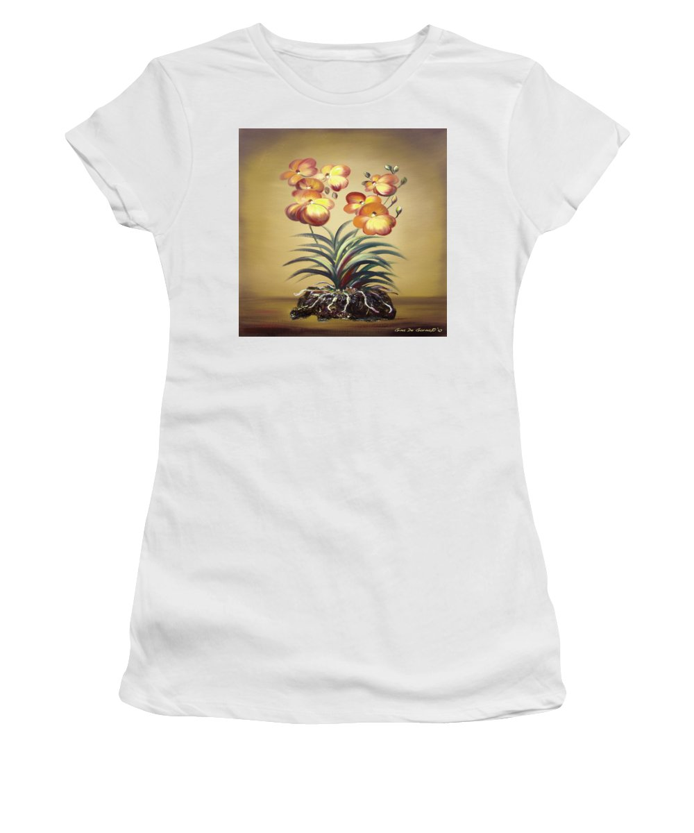 Orange Women's T-Shirt (Athletic Fit) featuring the painting Orange Orchid Flowers by Gina De Gorna