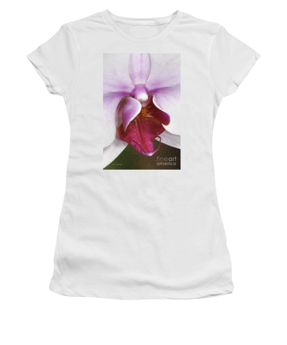 Orchid Women's T-Shirt (Athletic Fit) featuring the photograph Orchid Portrait In Craquelure by Deborah Benoit