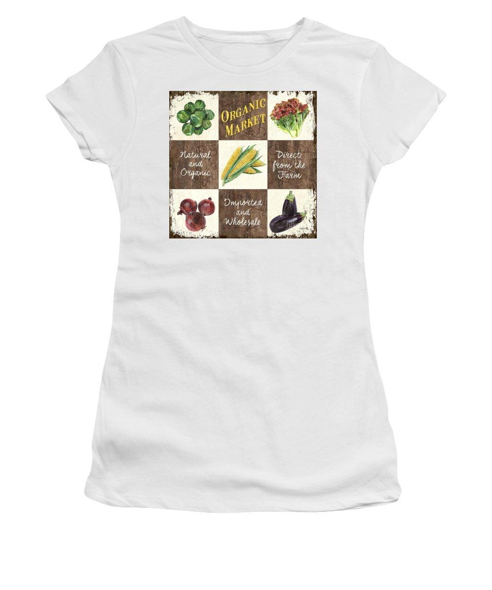 Organic Women's T-Shirt featuring the painting Organic Market Patch by Debbie DeWitt