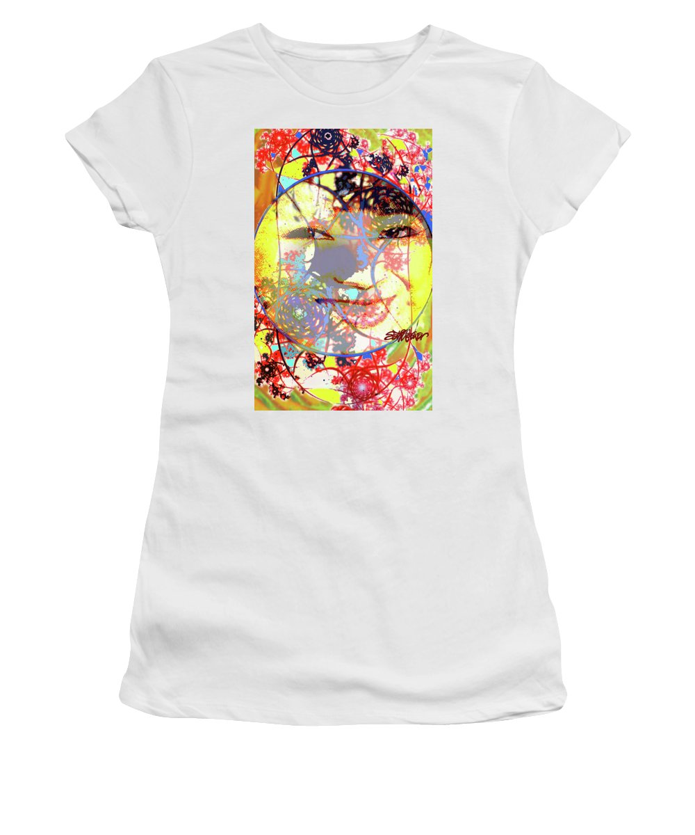 Oriental Garden Moon Women's T-Shirt (Athletic Fit) featuring the photograph Oriental Garden Moon by Seth Weaver