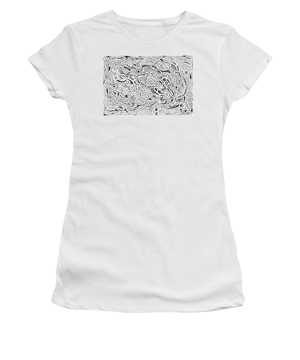 Mazes Women's T-Shirt (Athletic Fit) featuring the drawing Orphic by Steven Natanson