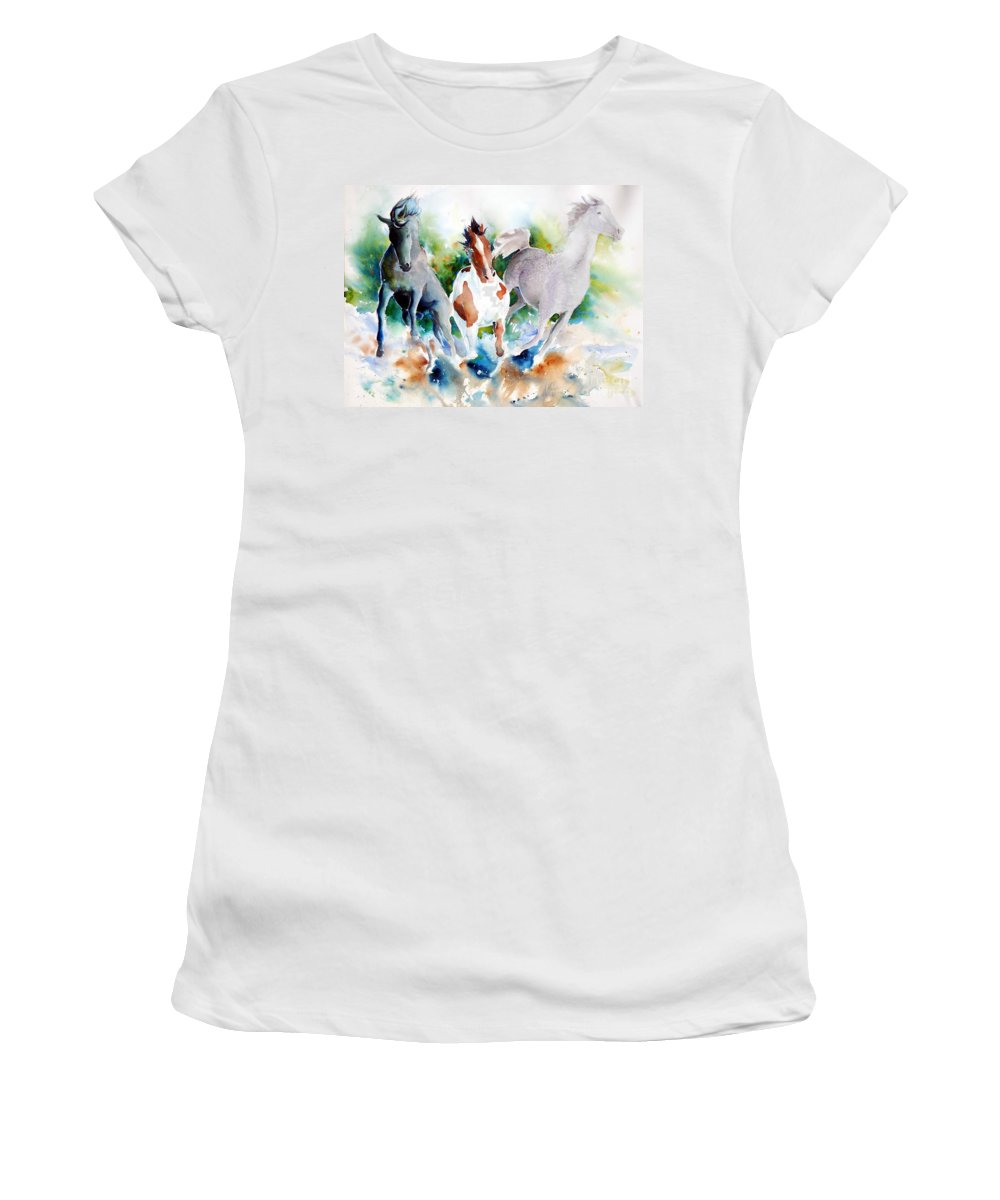 Horses Women's T-Shirt (Athletic Fit) featuring the painting Out Of Nowhere by Christie Michelsen