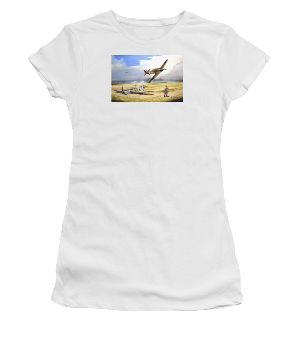 Painting Women's T-Shirt (Athletic Fit) featuring the painting Outgunned by Marc Stewart
