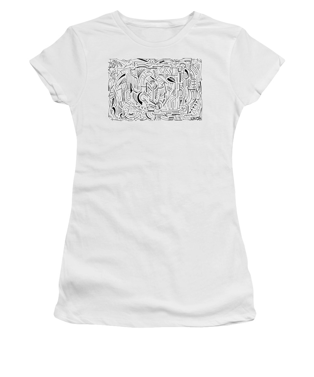 Mazes Women's T-Shirt (Athletic Fit) featuring the drawing Outside The Box by Steven Natanson