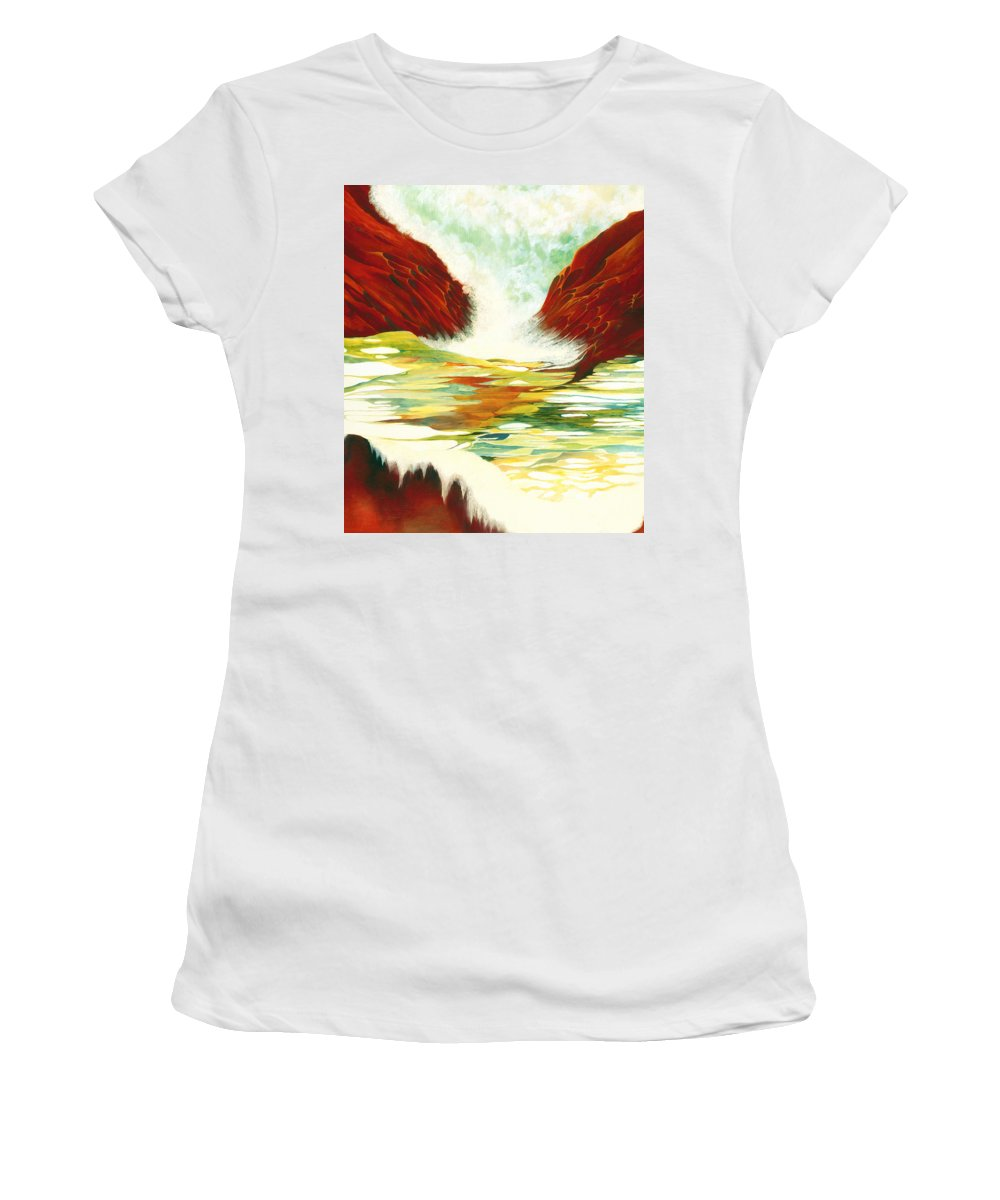 Oil Women's T-Shirt featuring the painting Overflowing by Peggy Guichu