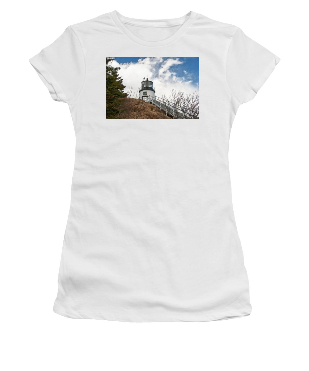 Buildings Women's T-Shirt (Athletic Fit) featuring the photograph Owl's Head Lighthouse 4761 by Guy Whiteley