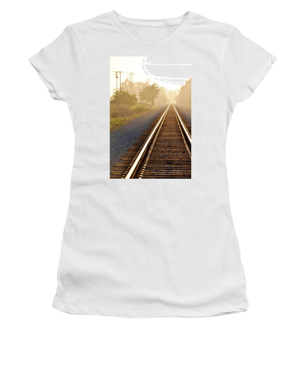 Pacific Coast Starlight Women's T-Shirt (Athletic Fit) featuring the photograph Pacific Coast Starlight Railroad by Kyle Hanson