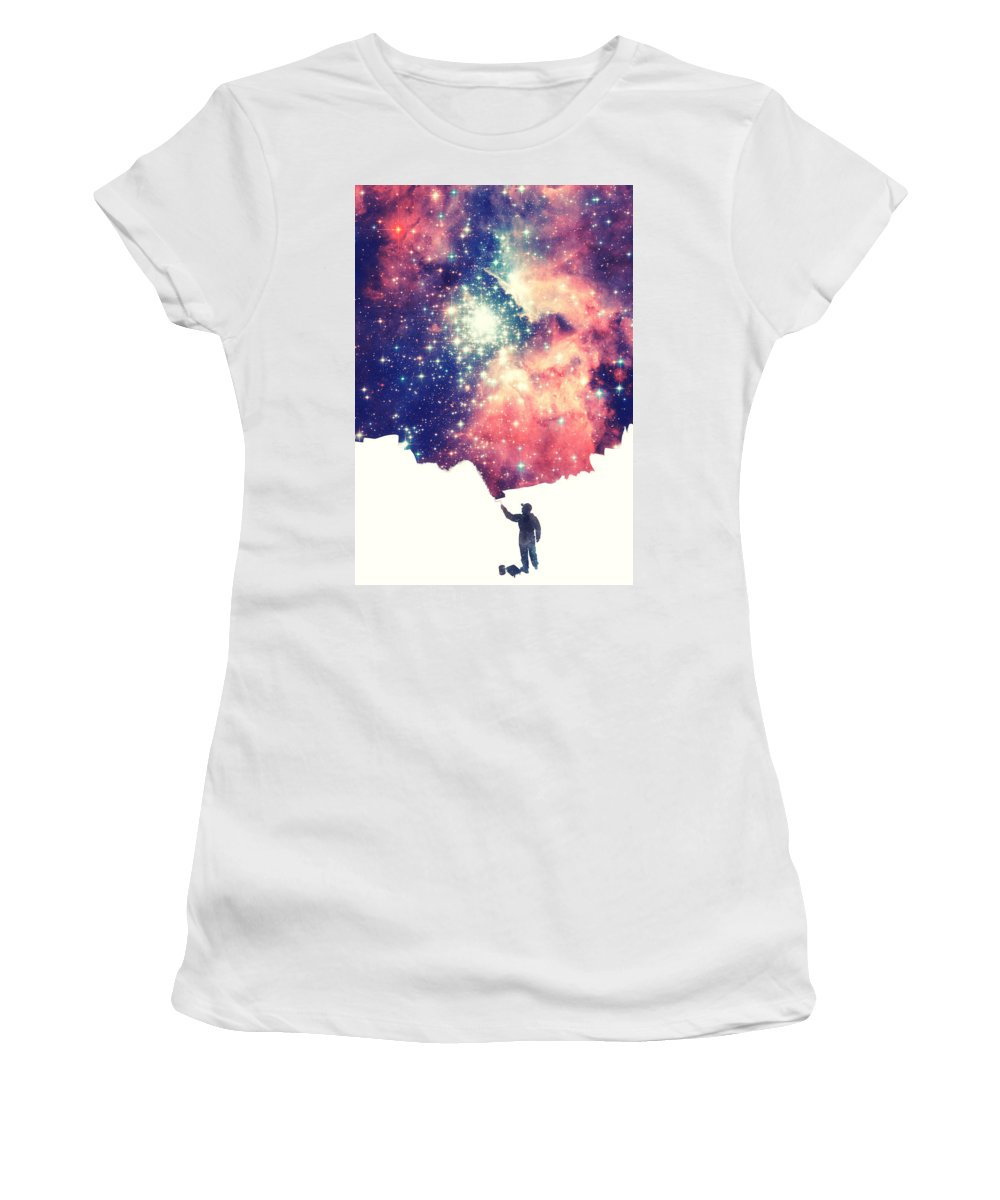 Space Women's T-Shirt featuring the photograph Painting The Universe Awsome Space Art Design by Philipp Rietz