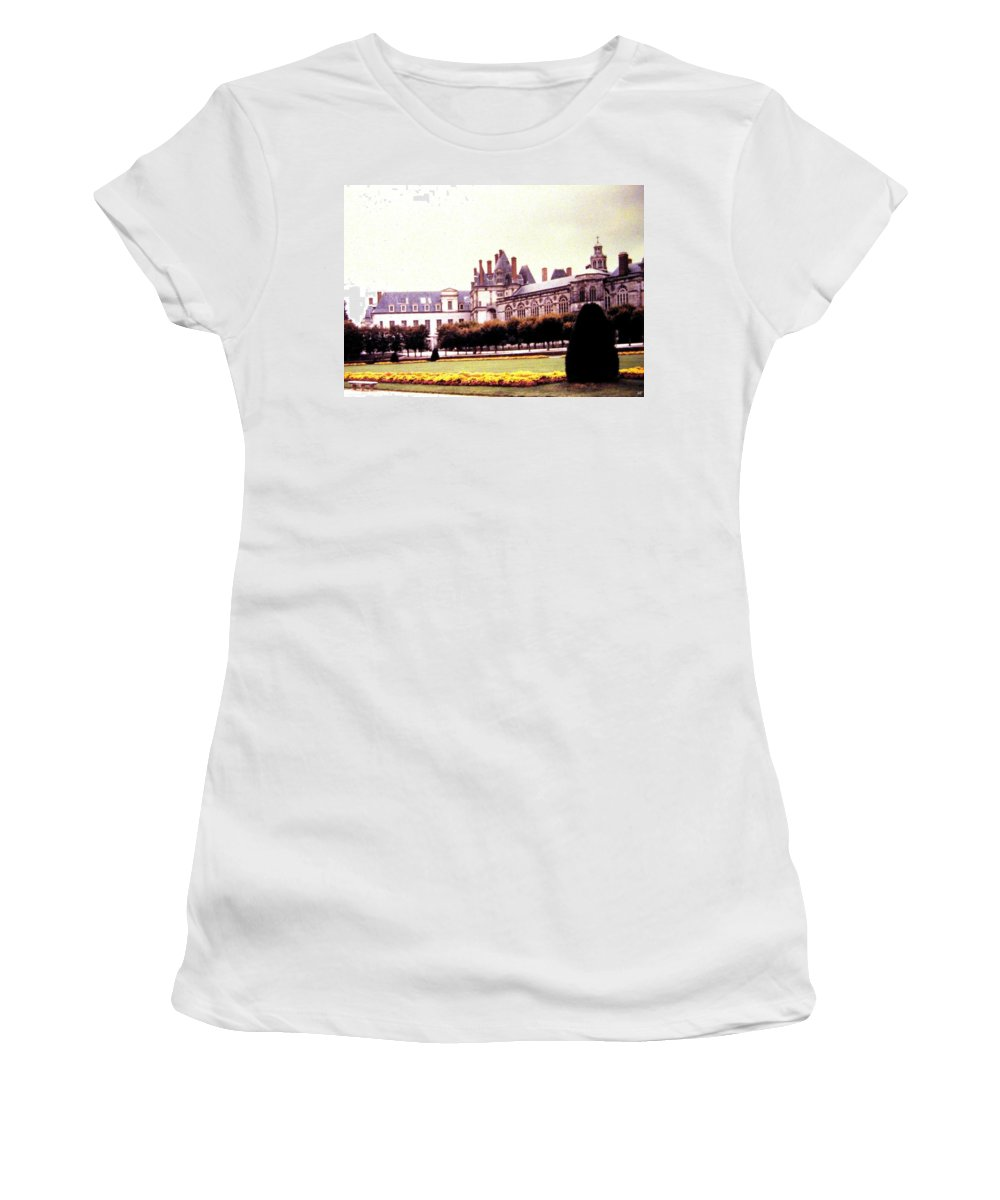 1955 Women's T-Shirt (Athletic Fit) featuring the photograph Palace Of Fontainebleau 1955 by Will Borden