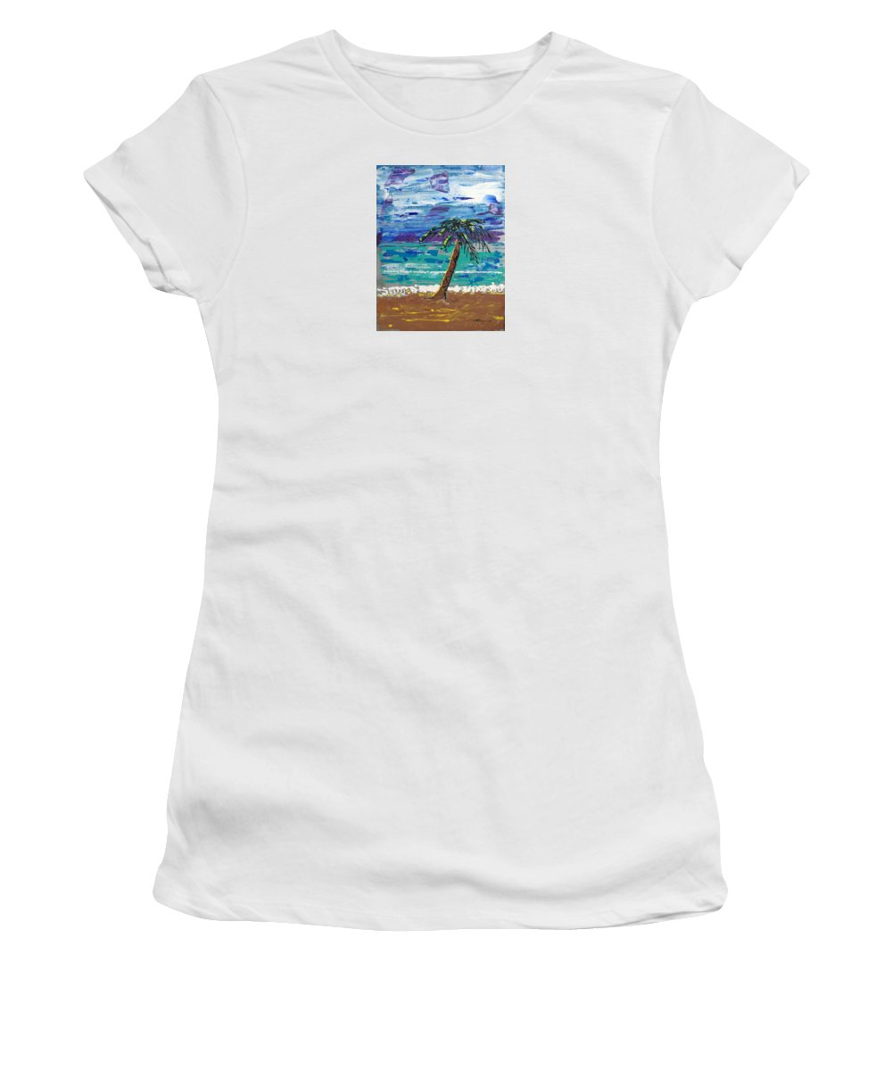 Impressionist Painting Women's T-Shirt (Athletic Fit) featuring the painting Palm Beach by J R Seymour