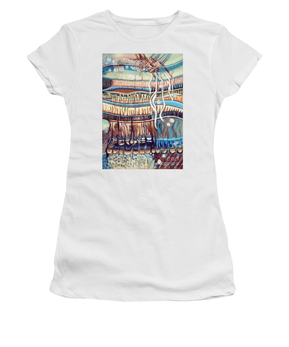 Abstract Women's T-Shirt featuring the painting Palm Contractions by Kerryn Madsen-Pietsch