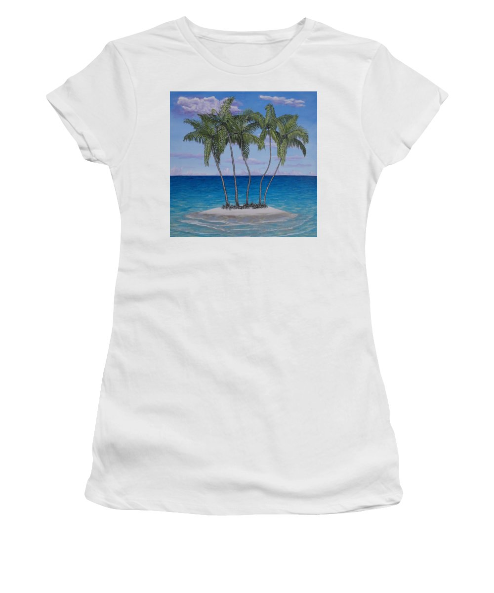 Acrylic Women's T-Shirt (Athletic Fit) featuring the painting Palm Island by Wayne Cantrell