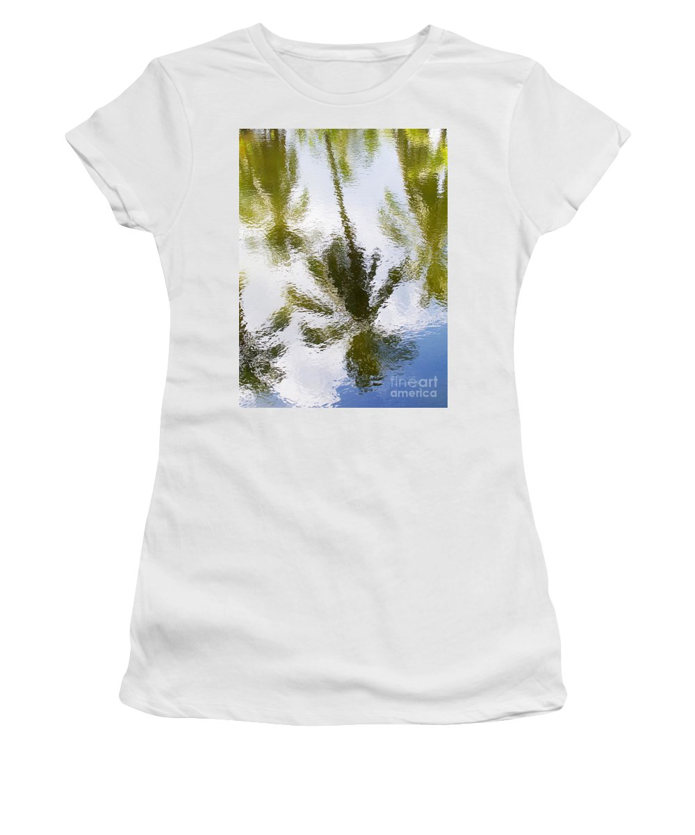 Blue Women's T-Shirt (Athletic Fit) featuring the photograph Palm Reflections by Ron Dahlquist - Printscapes
