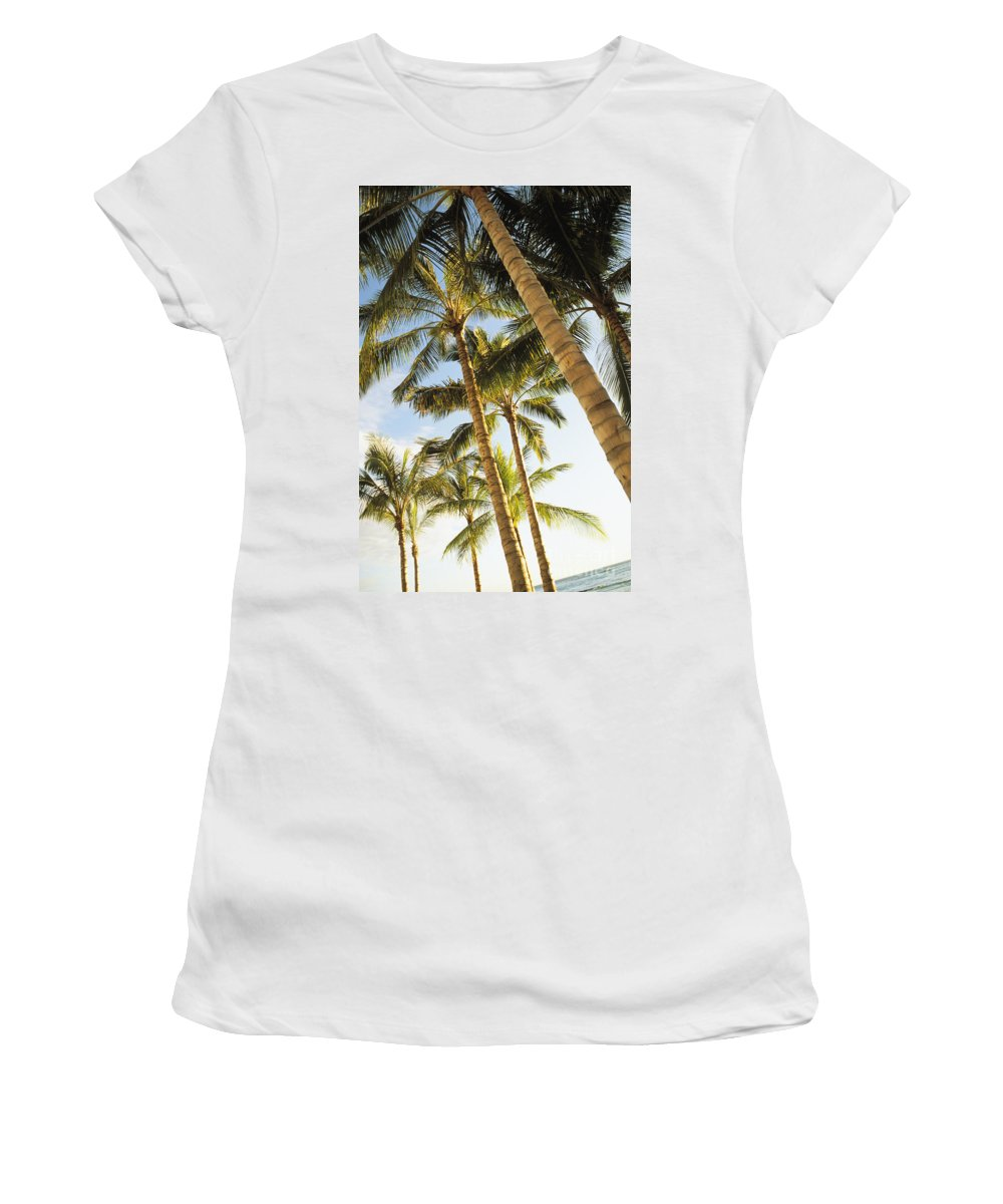 41-pfs0103 Women's T-Shirt featuring the photograph Palms Against Blue Sky by Dana Edmunds - Printscapes