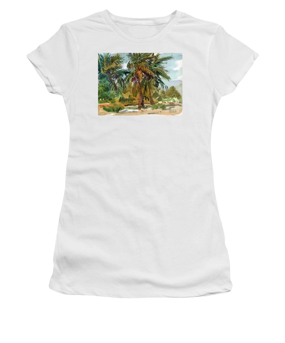 Palm Tree Women's T-Shirt (Athletic Fit) featuring the painting Palms In Key West by Donald Maier