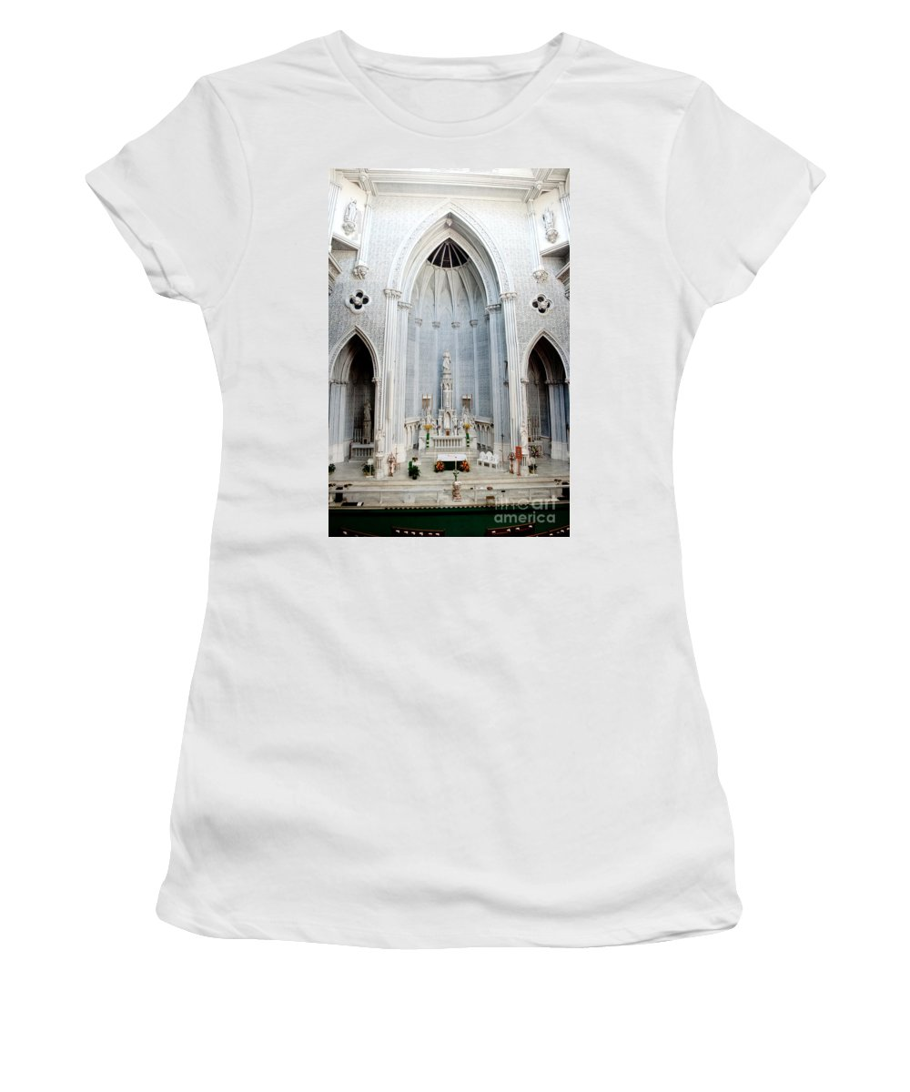 St.john Women's T-Shirt (Athletic Fit) featuring the photograph Panorama Of The Main Altar Of St. John The Evangalist Roman Catholic Church Schenectady by Thomas Marchessault