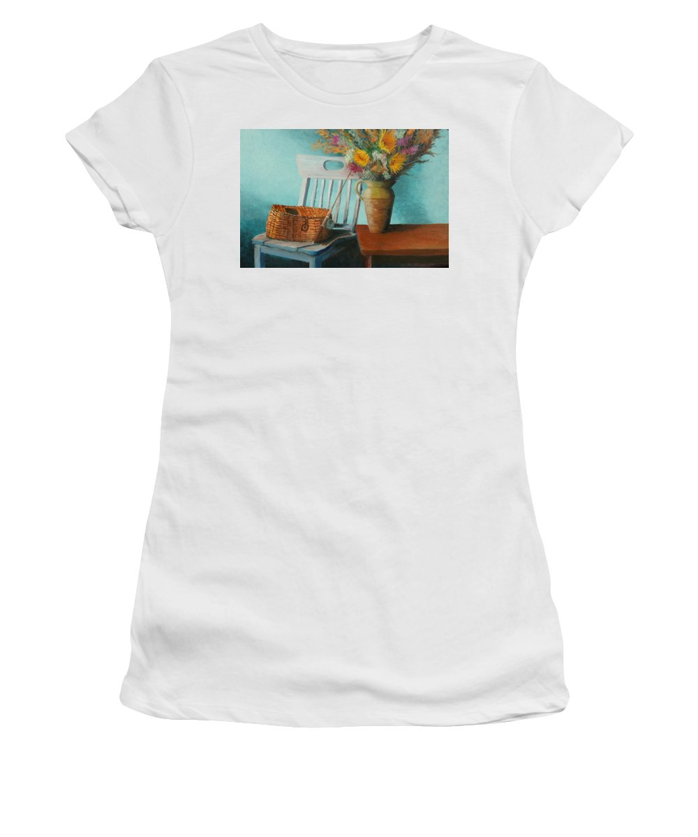 Floral Women's T-Shirt (Athletic Fit) featuring the painting Papa's Pole by Jerry McElroy