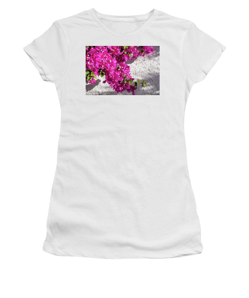 Georgia Mizuleva Women's T-Shirt (Athletic Fit) featuring the photograph Papery Pink Riot by Georgia Mizuleva