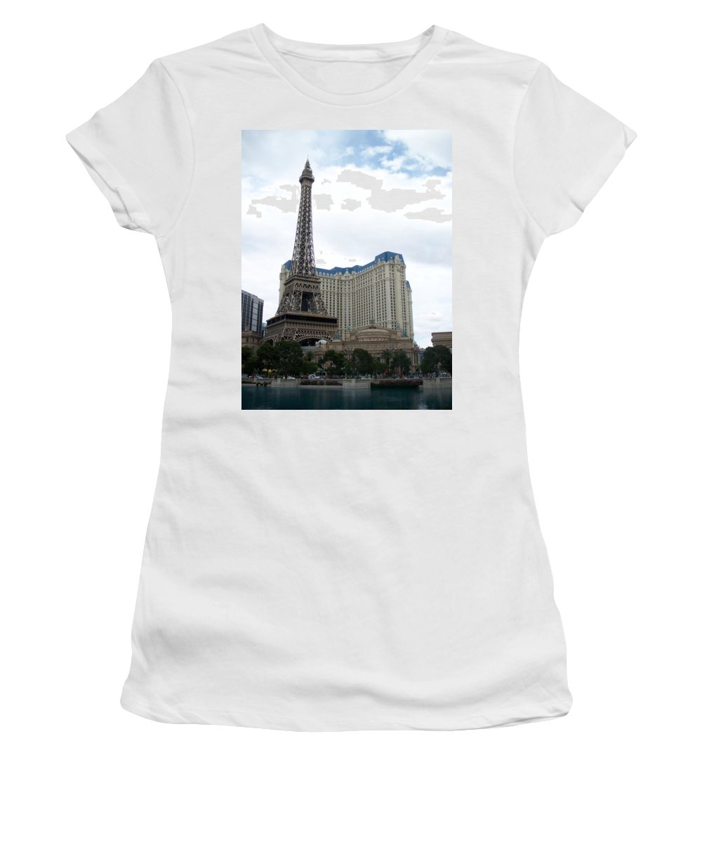 Bellagio Women's T-Shirt (Athletic Fit) featuring the photograph Paris Hotel by Anita Burgermeister