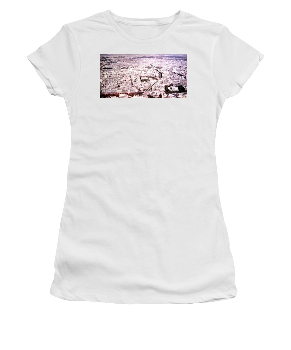 1955 Women's T-Shirt (Athletic Fit) featuring the photograph Paris Panorama 1955 by Will Borden