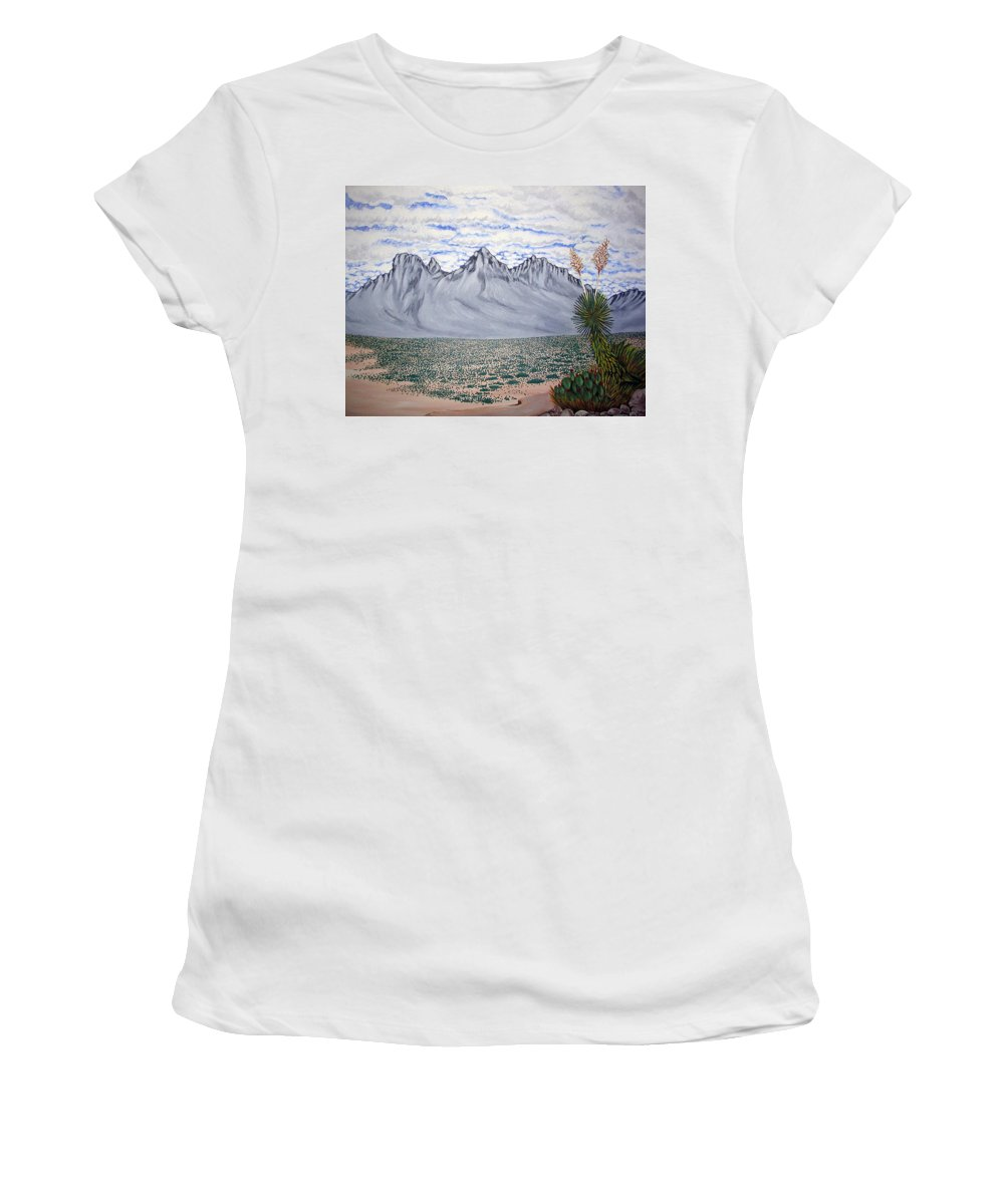 Desertscape Women's T-Shirt (Athletic Fit) featuring the painting Pass Of The North by Marco Morales