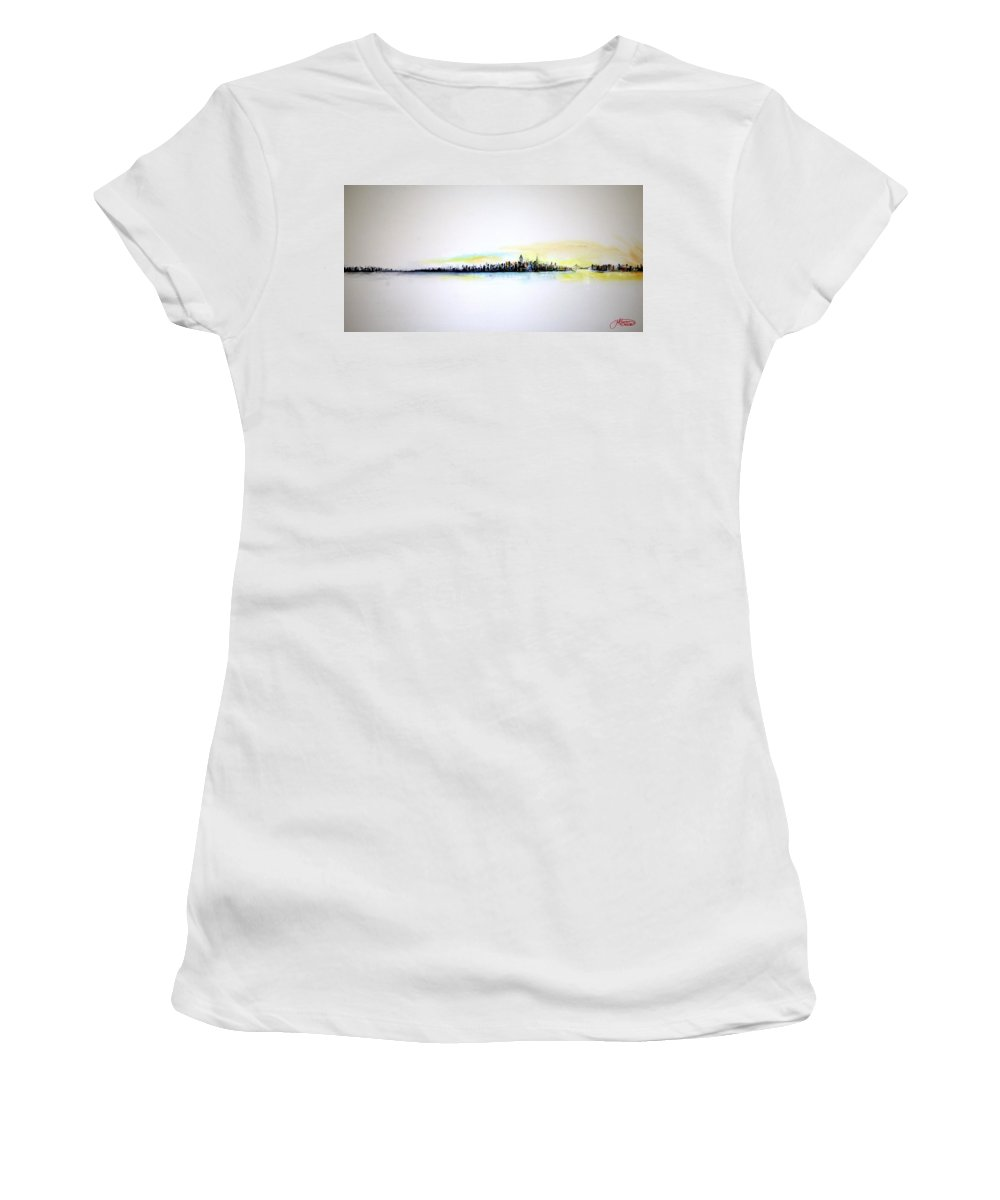 Nyc Women's T-Shirt (Athletic Fit) featuring the painting Pastel Morning by Jack Diamond