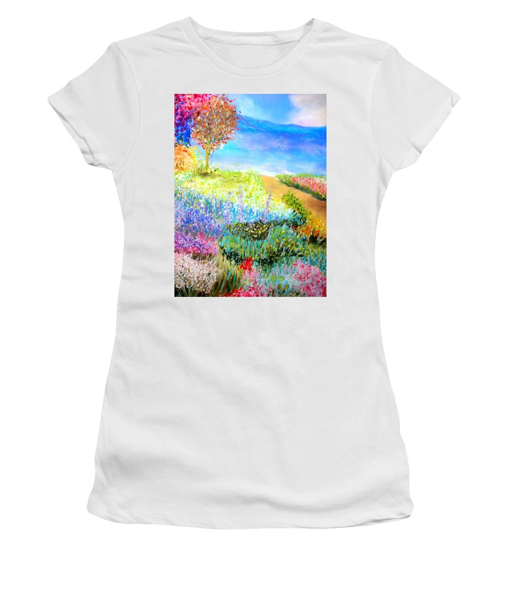 Landscape Women's T-Shirt (Athletic Fit) featuring the print Patricia's Pathway by Melinda Etzold