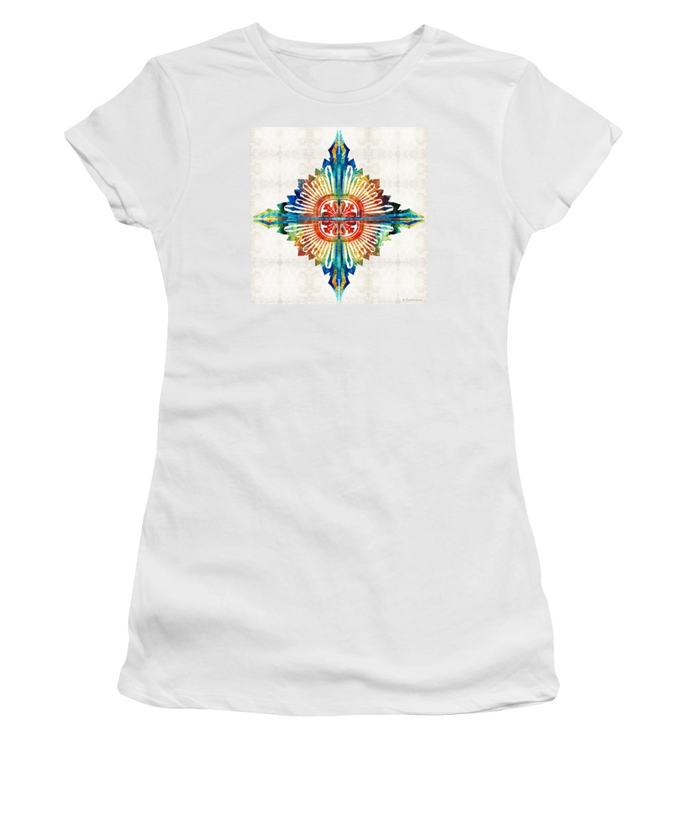 Mandala Women's T-Shirt featuring the painting Pattern Art - Color Fusion Design 1 By Sharon Cummings by Sharon Cummings