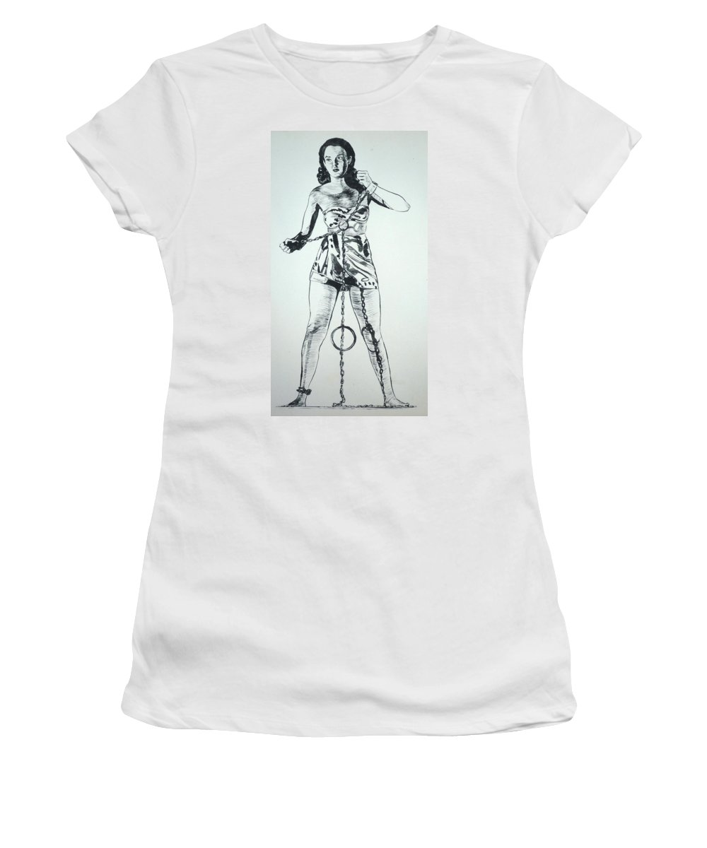 Monster Movies Women's T-Shirt (Athletic Fit) featuring the painting Paula Captive Wild Woman by Bryan Bustard
