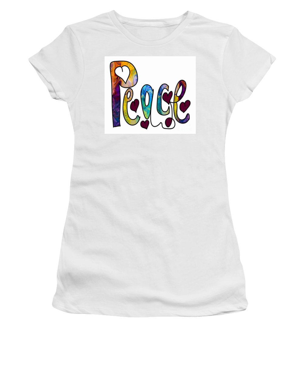 2015 Women's T-Shirt (Athletic Fit) featuring the digital art Peaceful Pasttimes Abstract Inspirational Art By Omaste Witkowsk by Omaste Witkowski