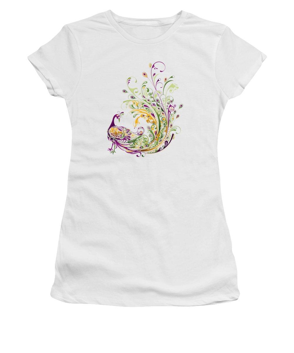 Peacock Women's T-Shirt featuring the digital art Peacock by BONB Creative