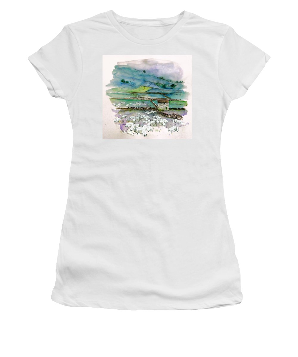 Paintings England Watercolour Travel Sketches Ink Drawings Art Landscape Paintings Town Women's T-Shirt (Athletic Fit) featuring the painting Peak District Uk Travel Sketch by Miki De Goodaboom